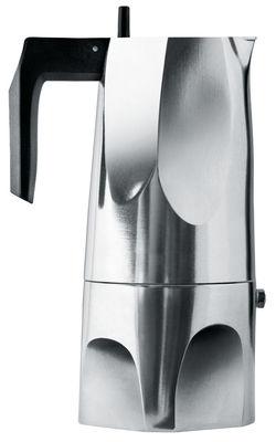 Arts de la table - Thé et café - Cafetière italienne Ossidiana / 6 tasses - Alessi - 6 tasses / Acier & poignée noire - Fonte d'aluminium, Résine thermoplastique