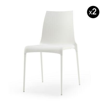 Chaise empilable Petra / Set de 2 - Cinna blanc en matière plastique
