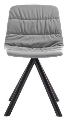 Chaise pivotante Maarten / Rembourrée & pieds métal - Viccarbe noir,gris clair en tissu
