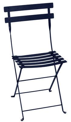 Mobilier - Chaises, fauteuils de salle à manger - Chaise pliante Bistro / Métal - Fermob - Bleu Abysse - Acier laqué
