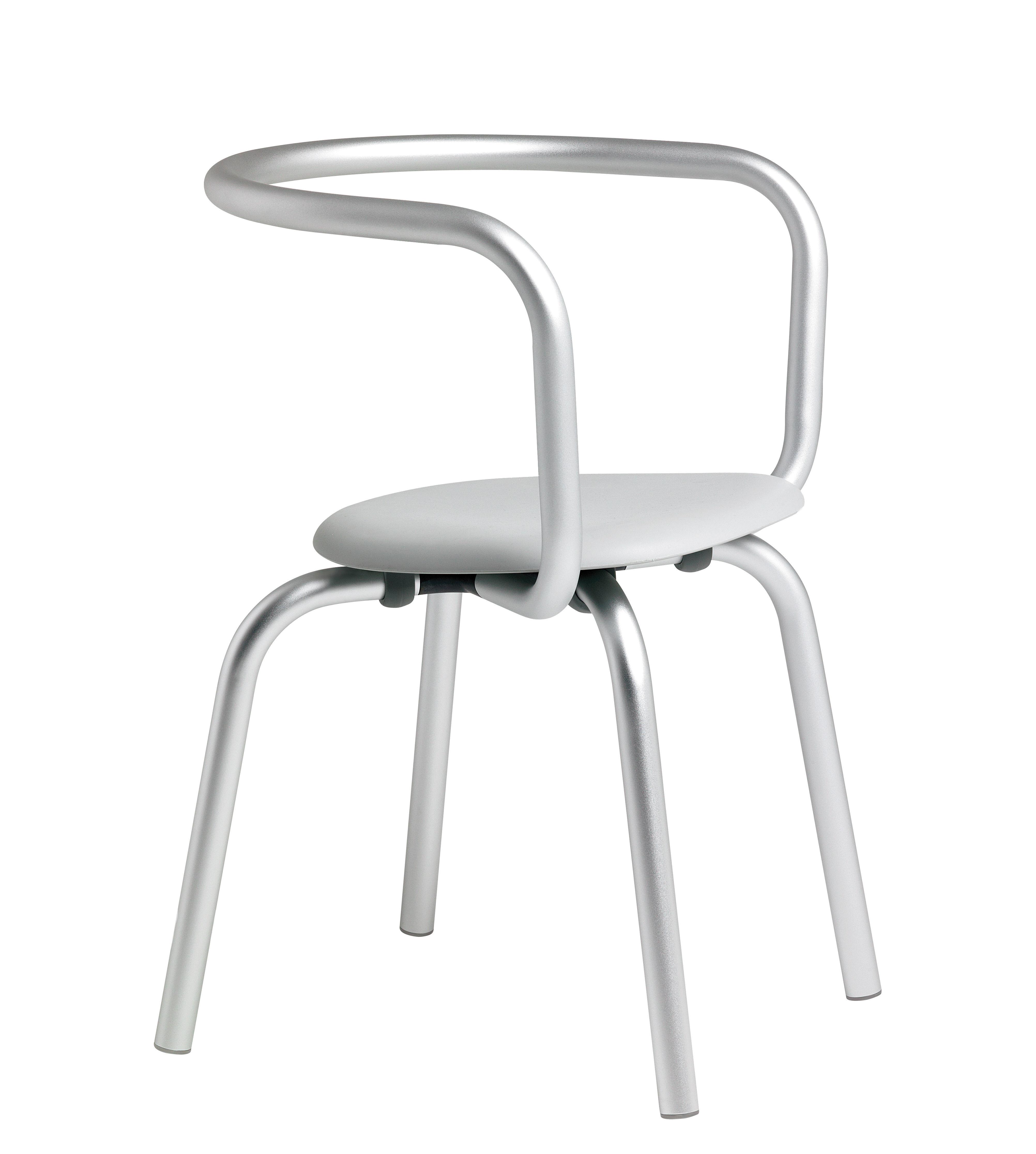 Mobilier - Chaises, fauteuils de salle à manger - Fauteuil Parrish / Métal & assise plastique - Emeco - Aluminium / Assise grise - Aluminium, Polypropylène recyclé