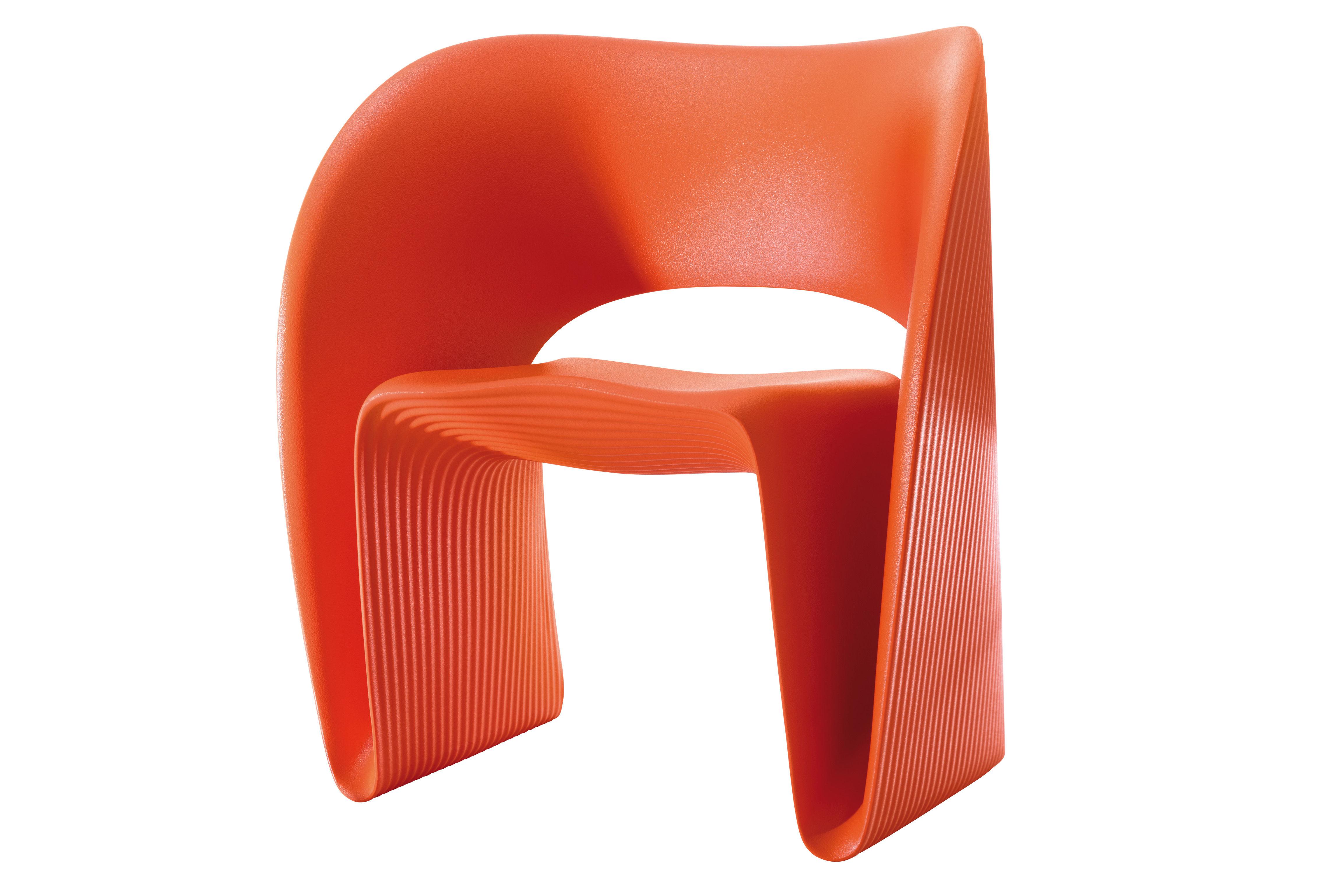 Mobilier - Chaises, fauteuils de salle à manger - Fauteuil Raviolo / Plastique - Magis - Orange - Polyéthylène rotomoulé