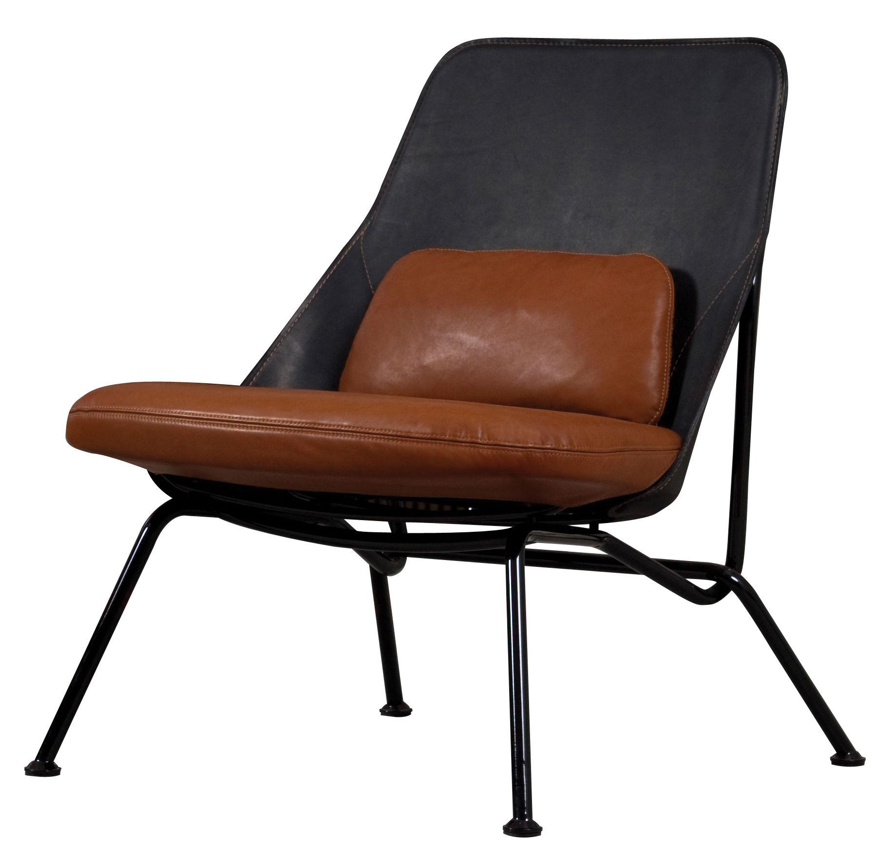 Mobilier - Fauteuils - Fauteuil rembourré Strain / Cuir - Prostoria Ltd - Assise cuir marron / Dossier cuir noir - Cuir, Métal