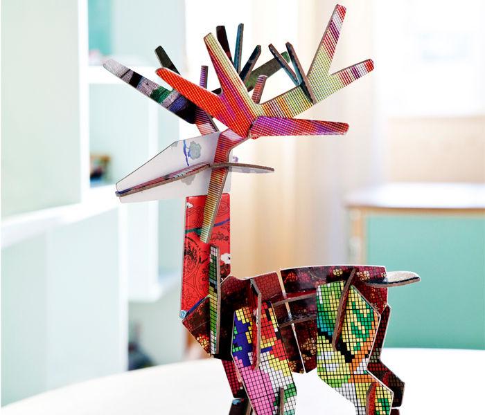 Totem figurine da costruire grande cervo della foresta - Totem palo modelli per bambini ...