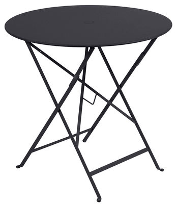 Outdoor - Garden Tables - Bistro Foldable table - Ø 77cm - Umbrella hole by Fermob - Anthracite - Lacquered steel