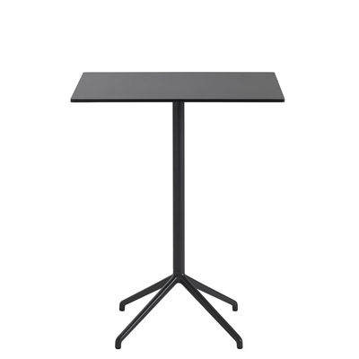 Furniture - High Tables - Still Café High table - / 75 x 65 cm x H 95 cm - Linoleum by Muuto - Black - Cast aluminium, MDF with linoleum finish, Steel