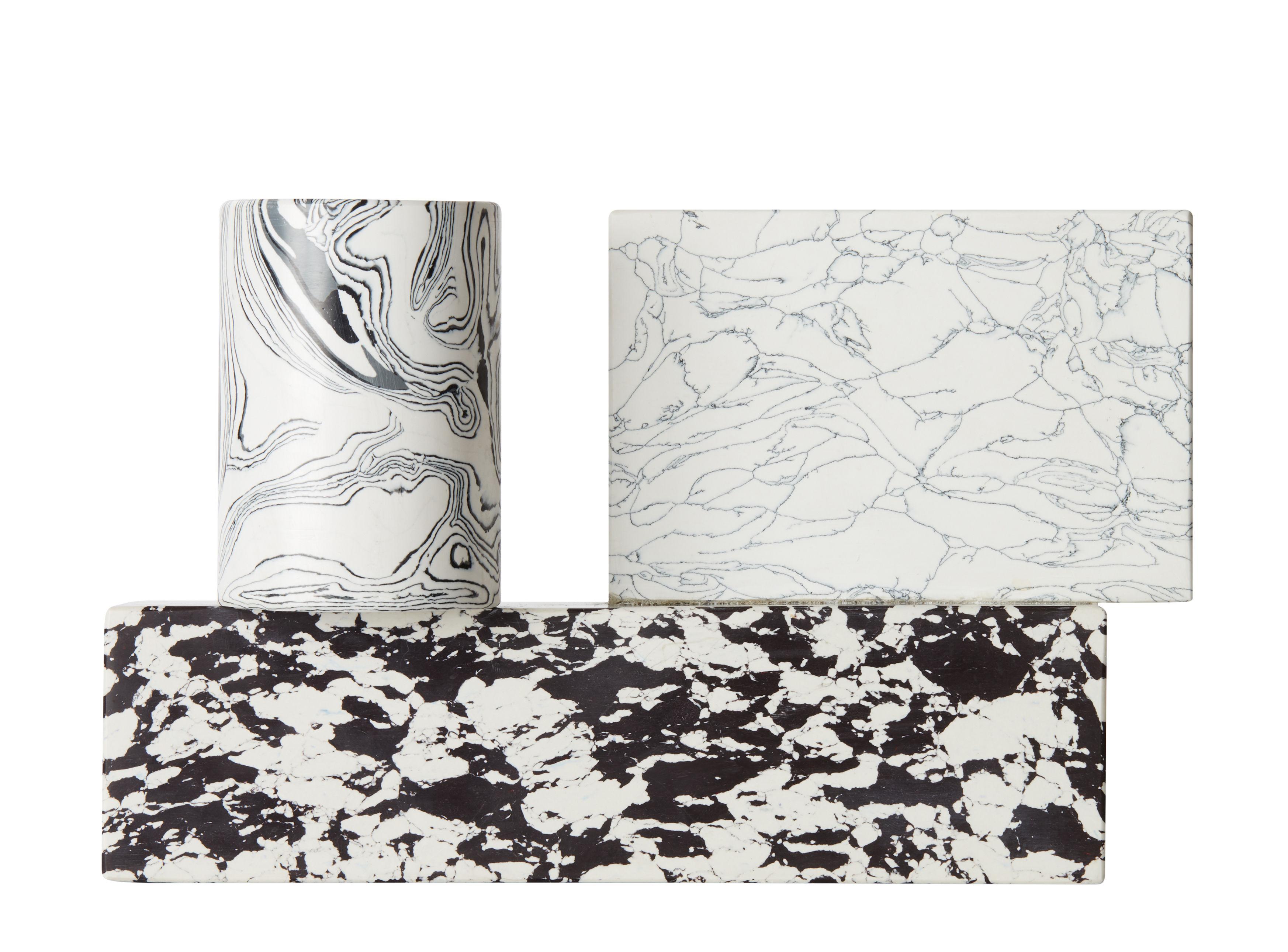 Dekoration - Kerzen, Kerzenleuchter und Windlichter - Swirl Kerzenleuchter / Marmor-Optik - Tom Dixon - Schwarz & weiß - Harz, Pigmente, Recyceltes Marmorpulver