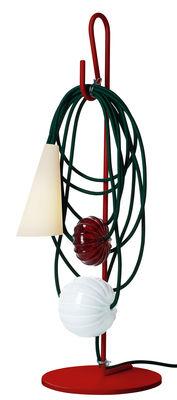 Luminaire - Lampes de table - Lampe de table Filo / H 58 cm - Foscarini - Ruby Jaypure - Métal verni, Porcelaine, Tissu, Verre de Murano