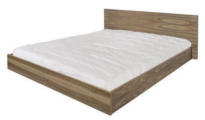 Mobilier - Lits - Lit double Bedpost / King Size - 180 x 200 cm - POP UP HOME - Noyer - Panneaux alvéolaires, Placage noyer