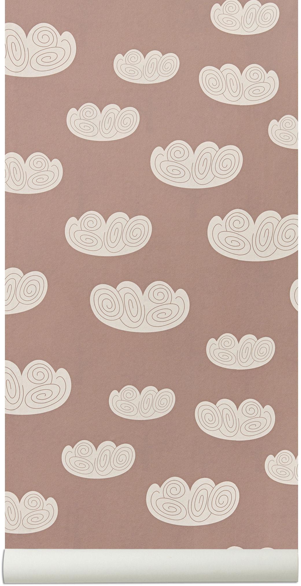 Déco - Stickers, papiers peints & posters - Papier peint Cloud / 1 rouleau - Larg 53 cm - Ferm Living - Rose pastel - Toile intissée