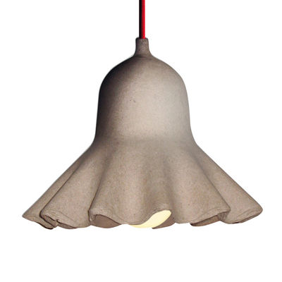 Lighting - Pendant Lighting - Egg of Columbus Pendant - Recycled cardboard - Ø 22,5 cm by Seletti - Shade natural beige / Red chord - Carton recyclé