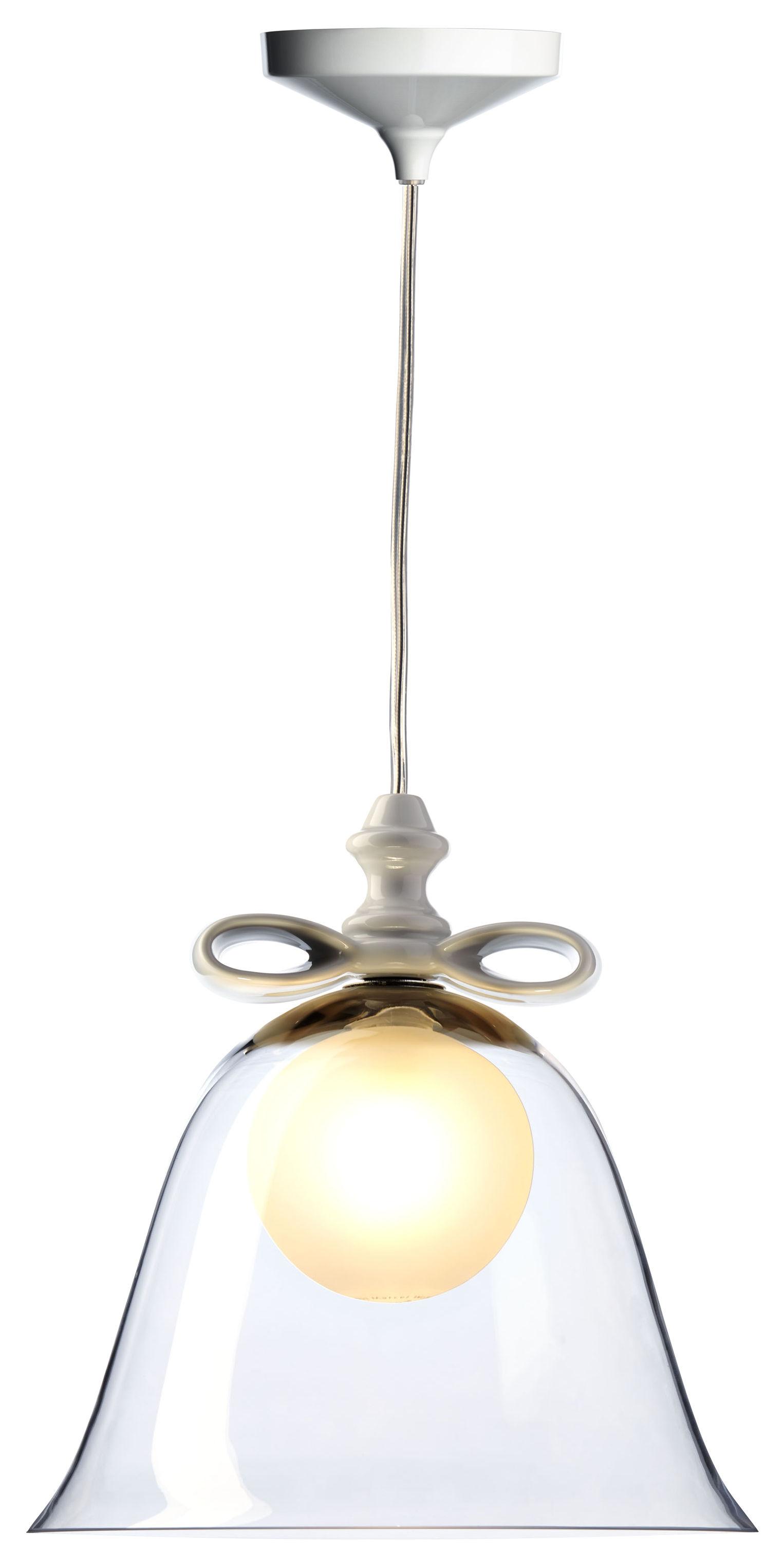 Leuchten - Pendelleuchten - Bell Medium Pendelleuchte / Ø 35 cm x H 27 cm - Moooi - Transparent / Schleife weiß - Keramik, mundgeblasenes Glas