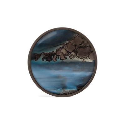 Image of Piano/vassoio Slate Organic - / Ø 30 cm - Legno & vetro dipinto a mano di Ethnicraft - Blu/Marrone - Vetro