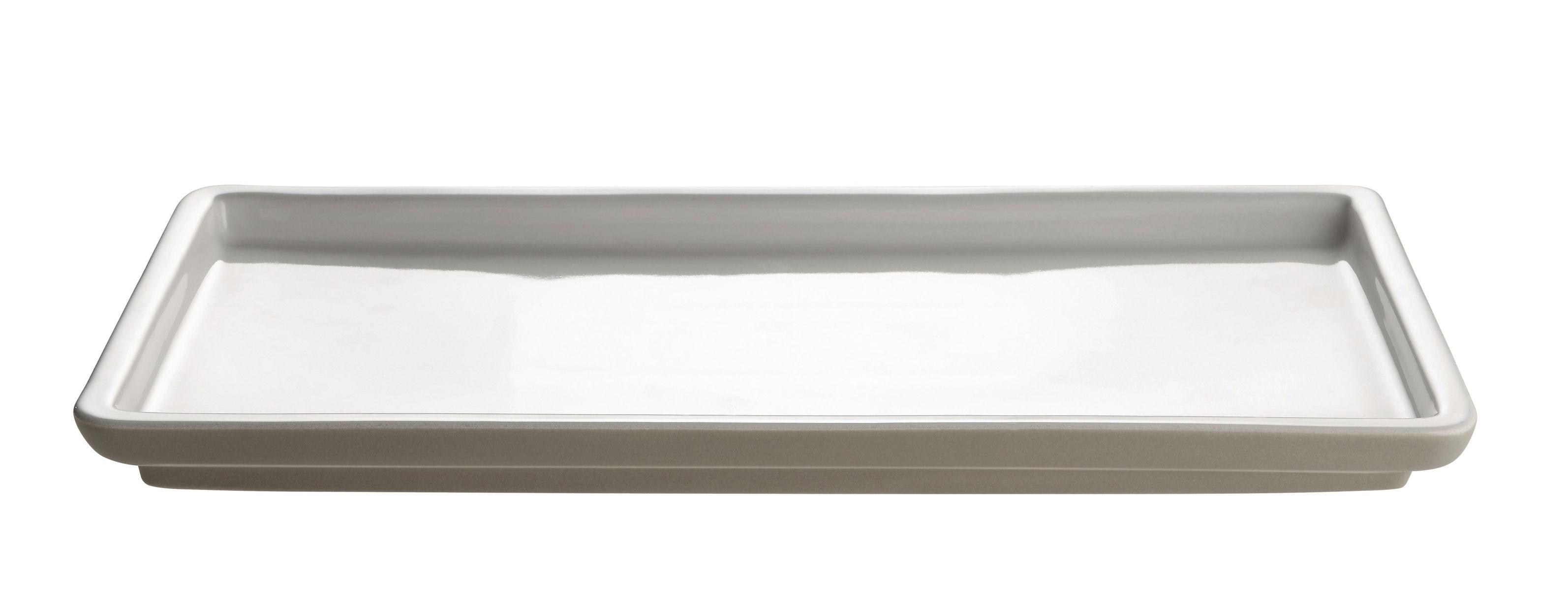 Cucina - Pentole, Padelle e Casseruole - Piatto da portata Tonale Small / 36 x 17 cm - Alessi - Small - Grigio chiaro / Interno bianco - Ceramica stoneware