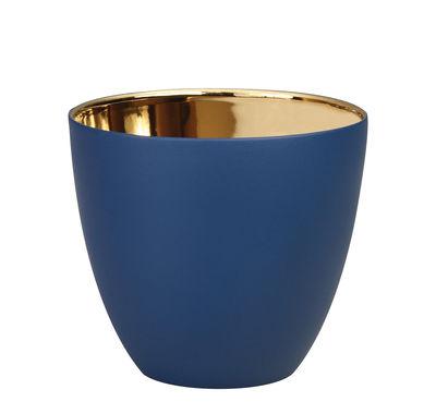 Interni - Candele, Portacandele, Lampade - Portacandela Summer Large - / H 8 cm - Porcellana di & klevering - Bleu marine / Or - Porcellana