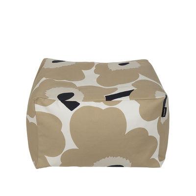Mobilier - Poufs - Pouf Unikko / 55 x 55 cm - Marimekko - Unikko / Beige - Billes de polystyrène expansé, Coton épais