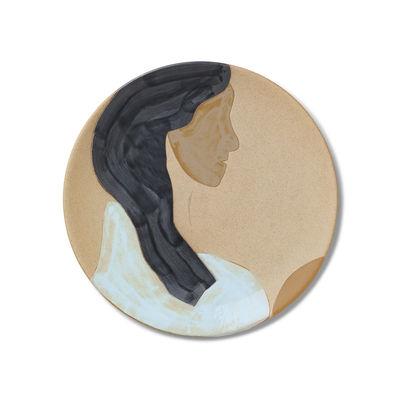 Tableware - Plates - Ceramic Hessa Presentation plate - / Ø 37.5 cm - Can be wall-mounted by Ferm Living - Hessa - Porcelaine non émaillée