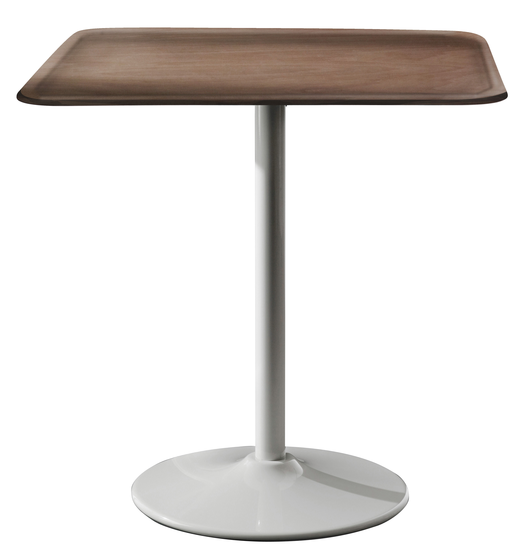 Outdoor - Tische - Pipe quadratischer Tisch 71 x 71 cm - Magis - Weiß / Buche nature - Stahl, Vielschicht-Sperrholz in Buche