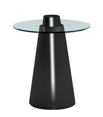 Outdoor - Garden Tables - Peak Round table - H 80 cm by Slide - Lacquered black / Transparent - Glass, Recyclable rotomoulded polyethylene