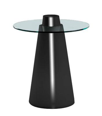 Outdoor - Tische - Peak Runder Tisch H 80 cm - Slide - Schwarz lackiert / transparent - Glas, rotationsgeformtes Polyäthylen