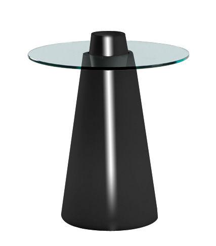 Outdoor - Tische - Peak Runder Tisch H 80 cm - Slide - Schwarz lackiert / transparent - Glas, Polyéthylène recyclable rotomoulé