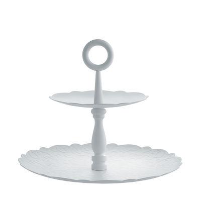 Tischkultur - Platten - Dressed for X-mas Servierplatte / 2 Ebenen - Porzellan - Alessi - Weißes Porzellan - bemalter Stahl