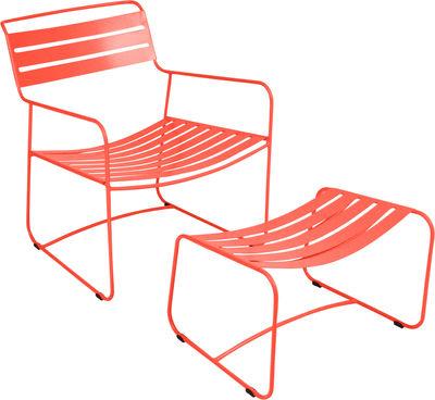 Set fauteuil & repose-pieds Surprising Lounger - Fermob capucine en métal
