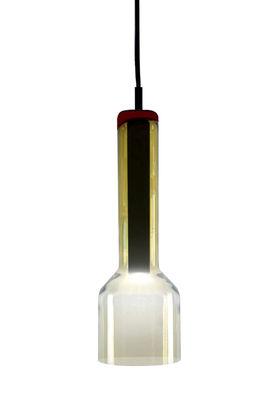 Illuminazione - Lampadari - Sospensione Stab Light Long / Ø 10 x H 33 cm - Vetro artigianale - Danese Light - Verde-ambra - Metallo, Vetro soffiato a stampo