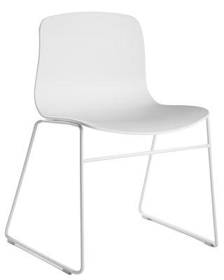 Möbel - Stühle  - About a chair AAC08 Stapelbarer Stuhl / mit Kufengestell - Hay - Weiß - Polypropylen, Stahl
