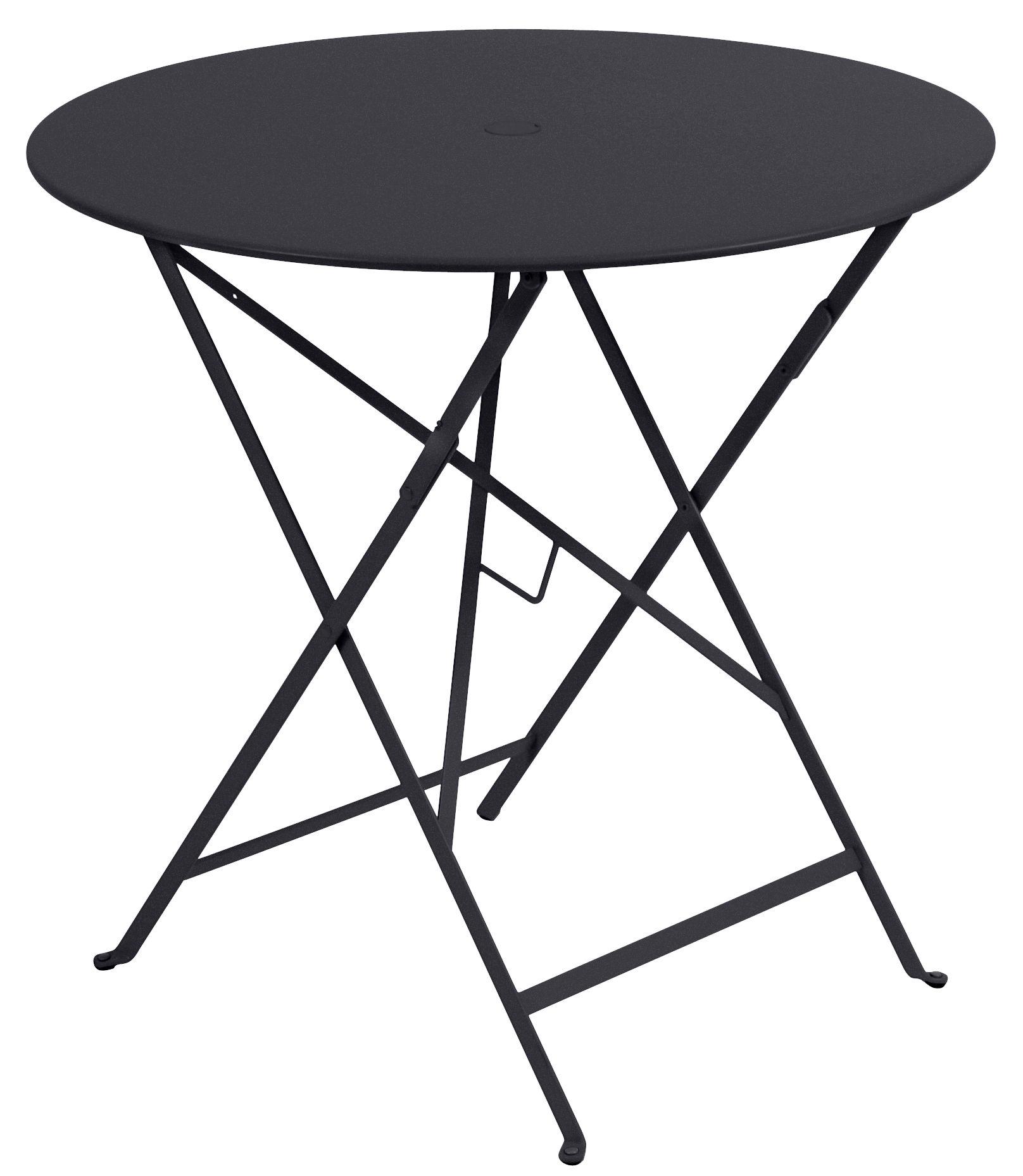 Outdoor - Tables de jardin - Table pliante Bistro / Ø 77cm - Trou pour parasol - Fermob - Carbone - Acier laqué