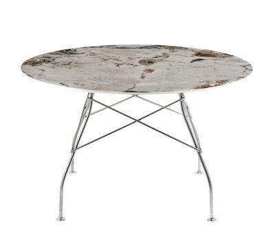 Table ronde Glossy Marble / Ø 128 cm - Grès effet marbre - Kartell chromé,beige,brun en céramique