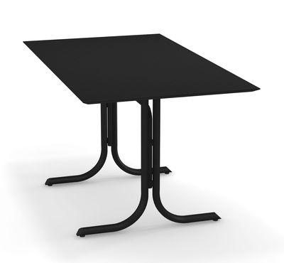 Outdoor - Tavoli  - Tavolo pieghevole System - / 80 x 140 cm di Emu - Nero - Acciaio galvanizzato verniciato