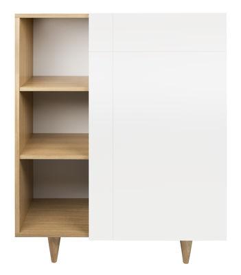 Mobilier - Commodes, buffets & armoires - Vaisselier Slide / L 90 x H 120 cm - POP UP HOME - Blanc / Chêne - Aggloméré plaqué chêne, Chêne massif, MDF peint