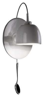 Lighting - Wall Lights - Light au Lait Wall light with plug by Ingo Maurer - White - China, Stainless steel