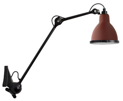 Illuminazione - Lampade da parete - Applique d'esterno N°222 XL - / Per ambienti esterni di DCW éditions - Rosso satinato (opaco) / Nero opaco - Acciaio, Alluminio, Celeron, Silicone, Vetro borosilicato