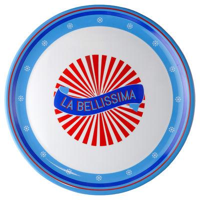 Assiette de présentation Bel Paese - La Bellissima / Ø 32 cm - Porcelaine - Bitossi Home bleu/rouge en céramique