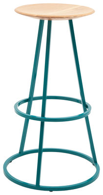 Furniture - Bar Stools - Grand Gustave Bar stool - H 77 cm - Wood & metal by Hartô - Aqua blue - Lacquered steel, Solid oak