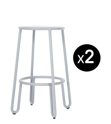 Furniture - Bar Stools - Huggy Bar stool - / H 65 cm - Set of 2 by Maiori - Frosty grey - Lacquered aluminium