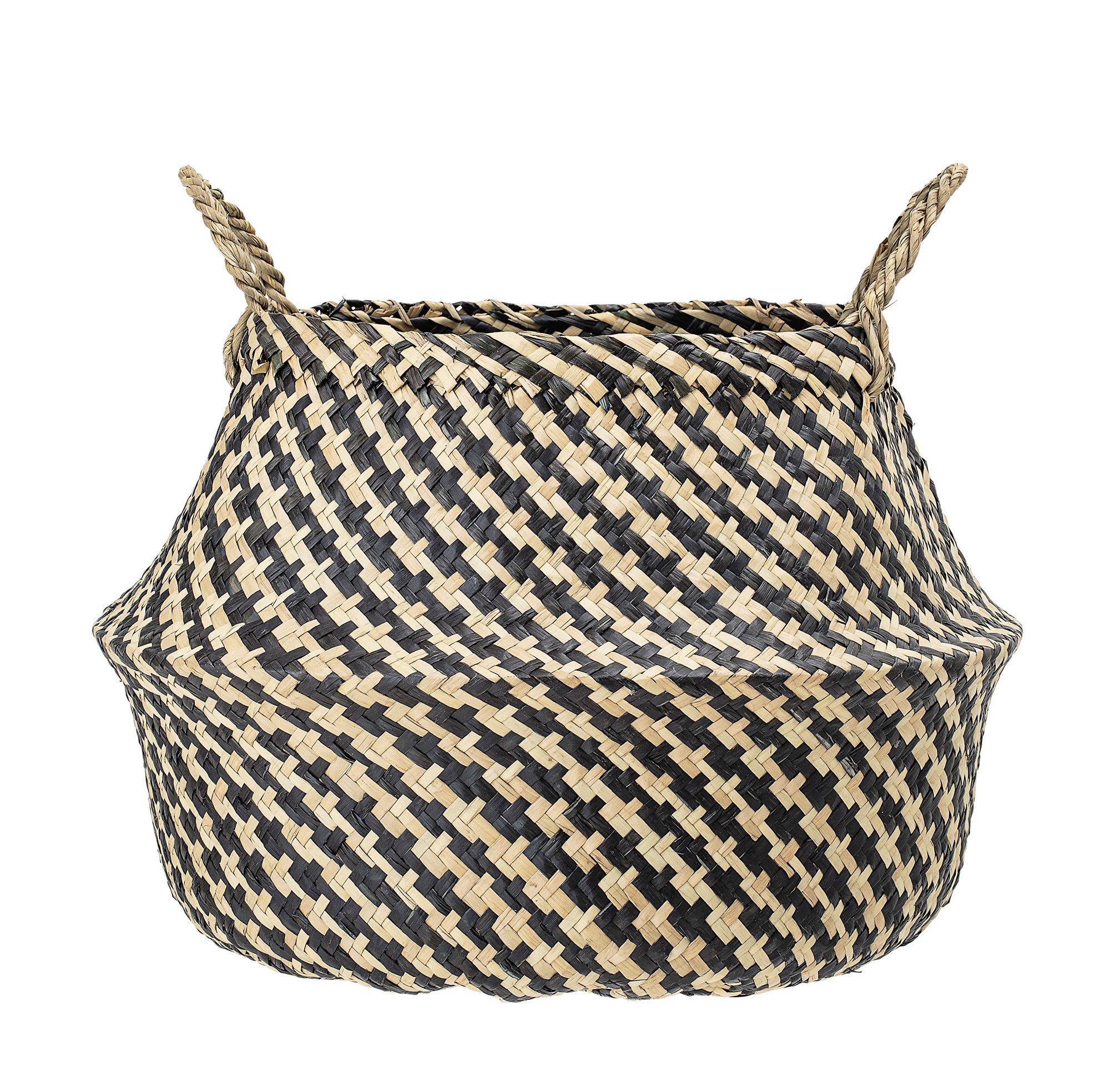 Decoration - Boxes & Baskets - Basket - / Seagrass by Bloomingville - Black & natural stripes - Seagrass