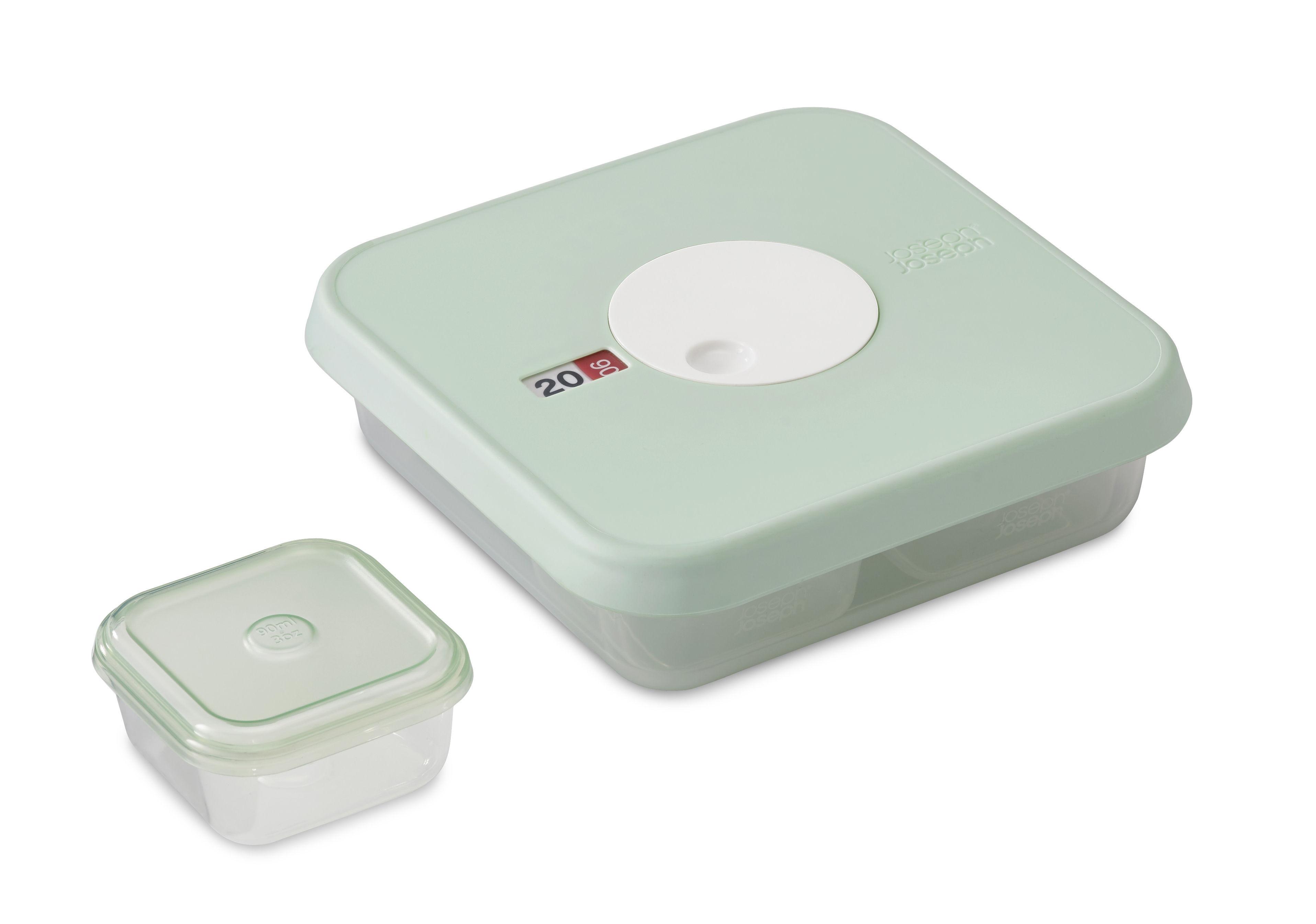 Cuisine - Boîtes, pots et bocaux - Boîte hermétique Dial Baby / Set de 5 pièces - Etape 2 : 9 - 12 mois - Joseph Joseph - Vert d'eau / Capacité : 1 x 0,9 L - 9 x 0,09 L - Matière plastique