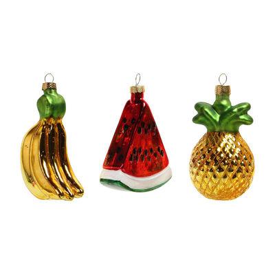 Boule de Noël Fruits / Set de 3 - & klevering multicolore en verre