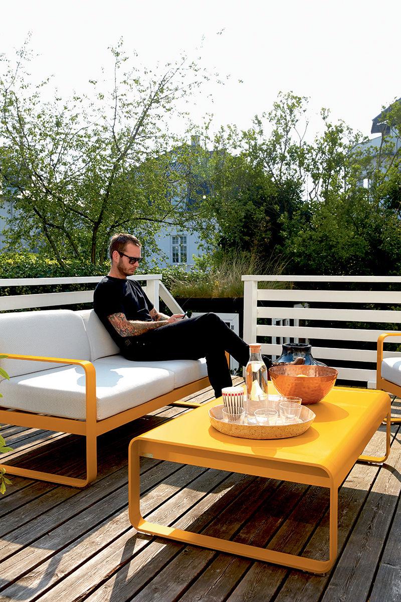 canap droit bellevie 2 places l 160 cm tissu blanc cactus fermob made in design. Black Bedroom Furniture Sets. Home Design Ideas