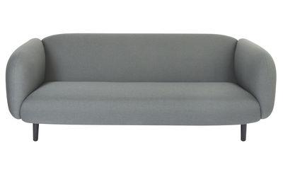 Mobilier - Canapés - Canapé droit Moïra / 3 places - L 204 cm - ENOstudio - Tissu / Gris clair - Bois laqué noir, Mousse, Tissu Gabriel