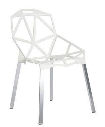 Mobilier - Chaises, fauteuils de salle à manger - Chaise empilable Chair one / Métal - Magis - Blanc / Pieds  aluminium - Aluminium anodisé poli, Fonte d'aluminium verni