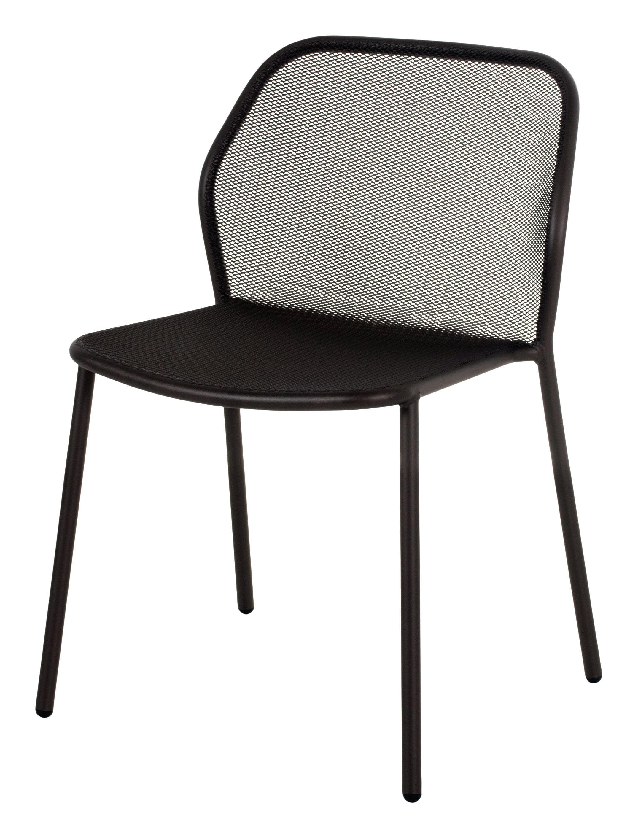 Mobilier - Chaises, fauteuils de salle à manger - Chaise empilable Darwin / Métal - Emu - Noir - Acier verni