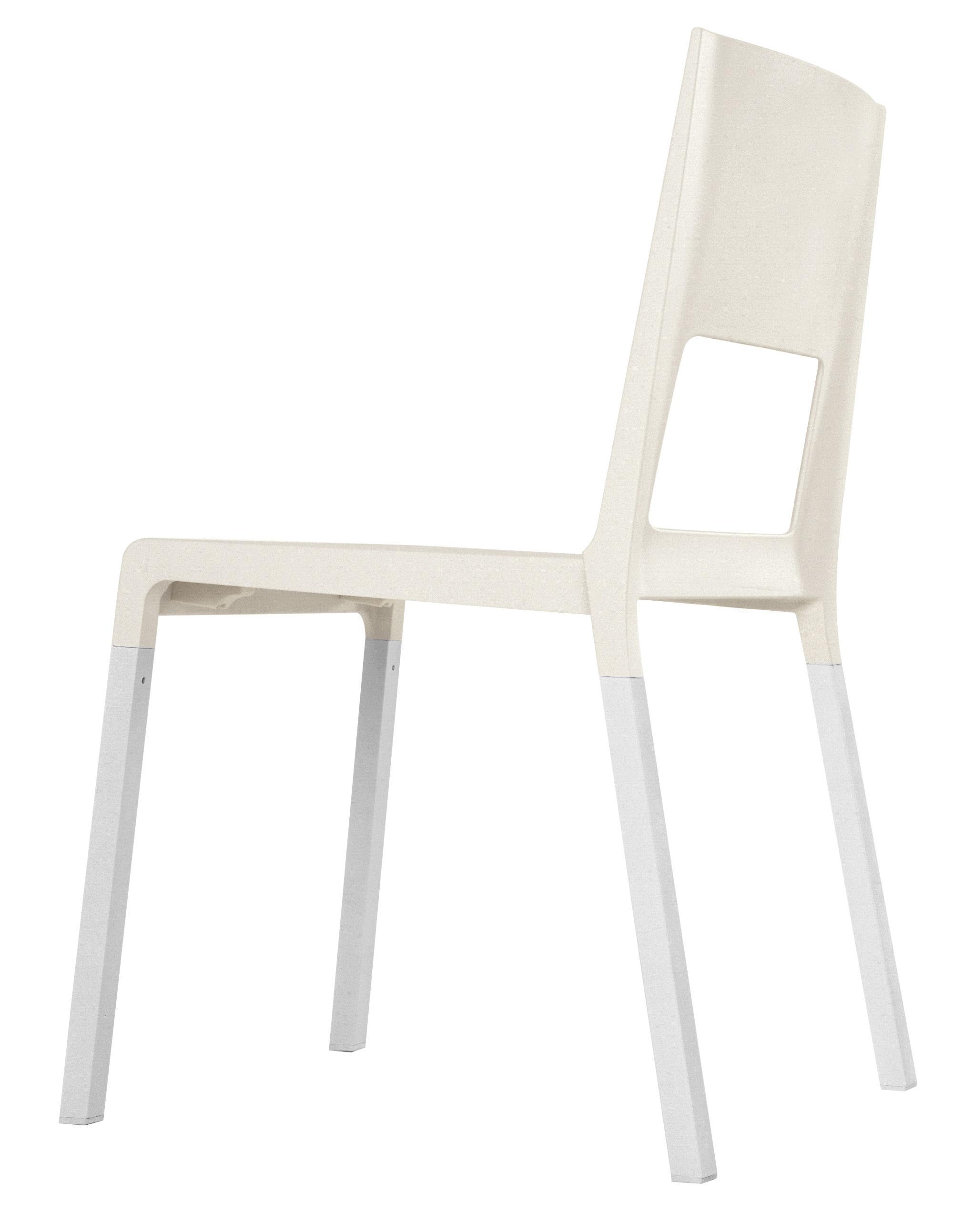 Mobilier - Chaises, fauteuils de salle à manger - Chaise empilable Face / Plastique & pieds métal - Kristalia - Blanc - Aluminium anodisé, Polyuréthane