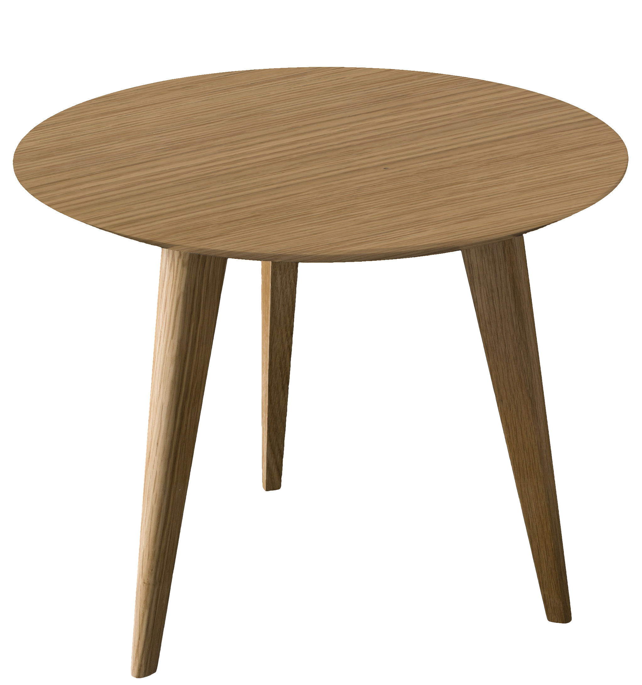 Möbel - Couchtische - Lalinde Ronde Couchtisch ronde - groß Ø 55 cm / Tischbeine aus Holz - Sentou Edition - Eichenholz / Tischbeine dunkles Holz - Holzfaserplatte, klarlackbeschichtete Eiche