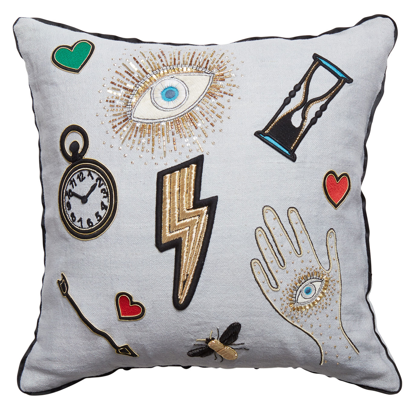 Decoration - Cushions & Poufs - Bijoux Scatter Cushion - / 46 x 46 cm - Linen & hand-embroidered beads by Jonathan Adler - Scatter / Multicoloured -  Duvet,  Plumes, Linen, Perles