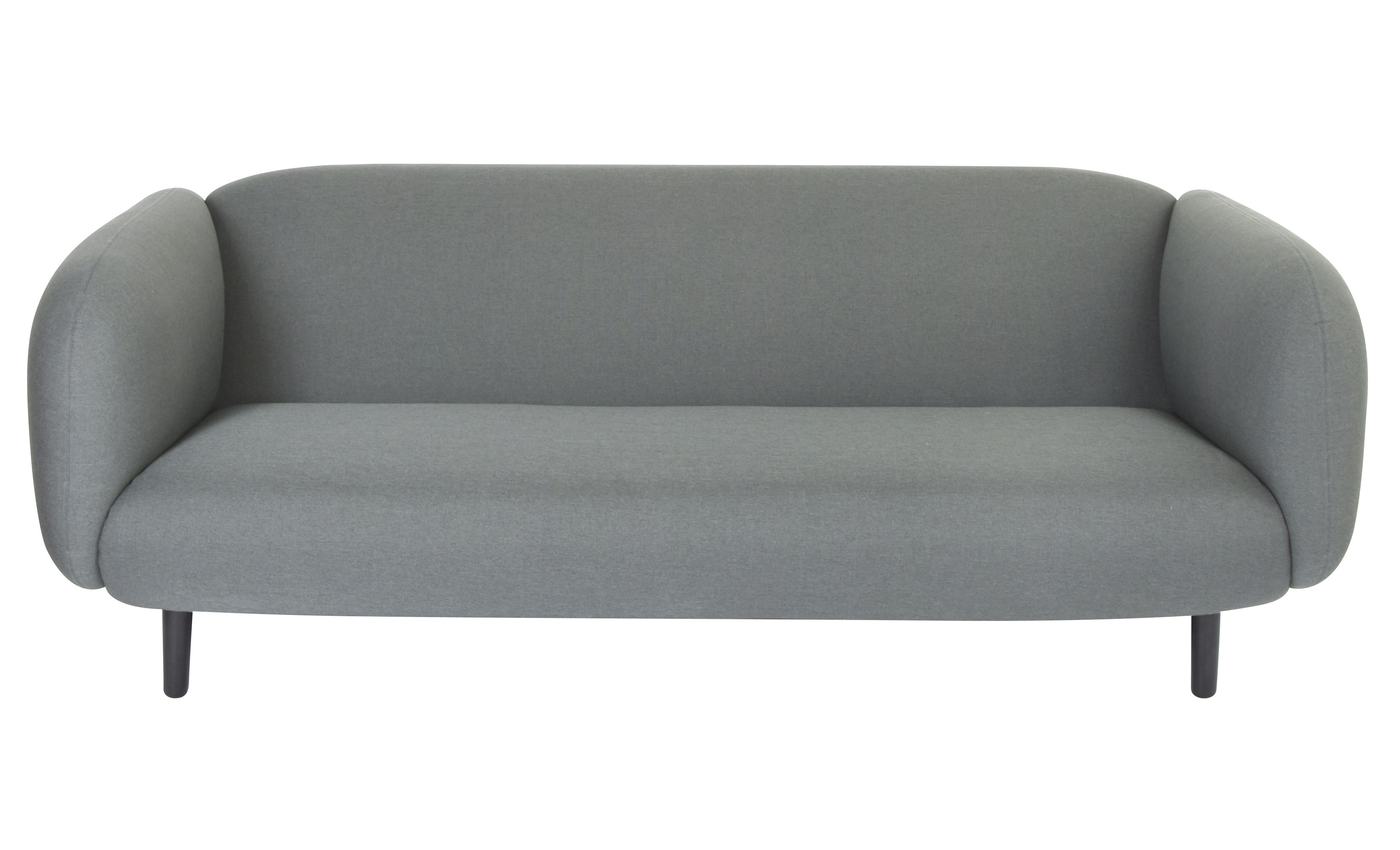 Arredamento - Divani moderni - Divano destro Moïra - / 3 posti - L 204 cm di ENOstudio - Grigio chiaro / Gambe nere - Bois laqué noir, Espanso, Tissu Gabriel