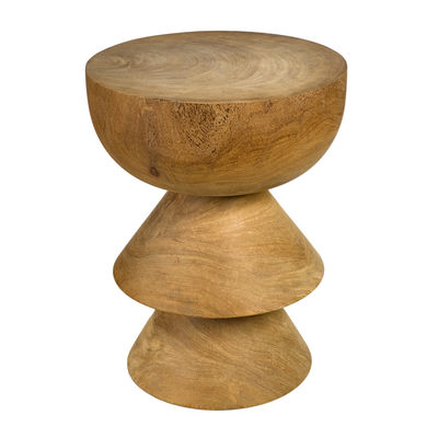 Furniture - Stools - Skirt End table - / Hand-carved wood by Pols Potten - Natural wood - Solid Dimb wood